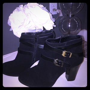 NWOB INC Black Suede Ankle Boots with Gold Buckles